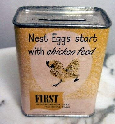 Bloomington First National Sitting Hen Chicken Feed Nest Egg Old Bank Nice