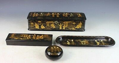 Group Of 4 Antique Chinese Hand Painted Lacquer Boxes