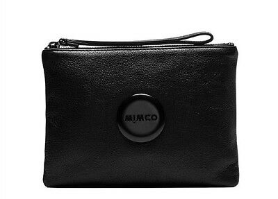 MIMCO Medium Black Matte button Wallet Cow Leather Express Postage RRP99.95