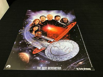 Star Trek The Next Generation by Keith Birdsong Poster Autographed by 4
