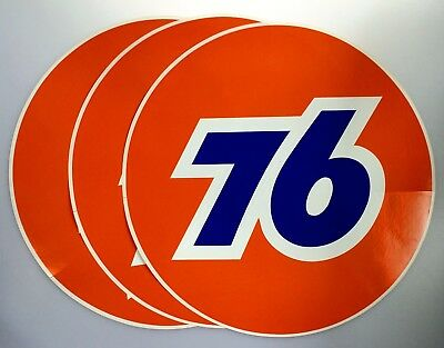 Union 76 Unocal Lot of 3 Round Stickers Original 12 in NOS Gasoline Oil