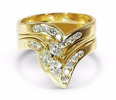 18k Yellow Gold 0.70ct Diamond Engagement/Wedd./Annivers. 3 Ring Bridal Set #504