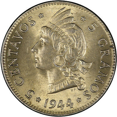 Dominican Republic 1944 5 Centavos LUSTROUS TONED UNC, ONE YEAR TYPE