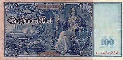 1910 Germany Imperial 100 Mark Bank Note Good  Condition  C . 7685288