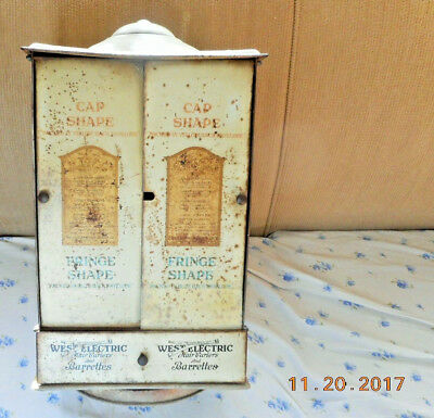 1921 Antique Tin Litho West Electric Curler  Beauty Parlor Store Display Cabinet