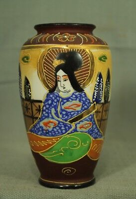 small vintage old Oriental Japanese vase art pottery Geisha brown blue