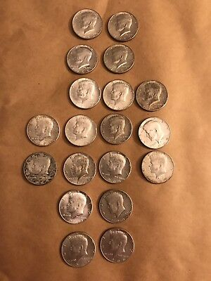 1964 - 1969 Lot Of 19 Kennedy Half Dollars Silver 40%