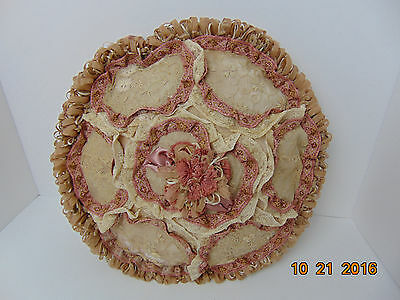 """Vintage 15""""  Round  Tapestry Pillow Cushion Floral Beige /Pink"""
