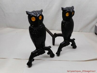 ~Original~ Vintage Cast Iron Owl Andirons W/ Original Glass Eyes (Nr)