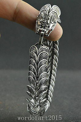 Pretty collectible old miao silver handwork carved dragon noble unique bracelet
