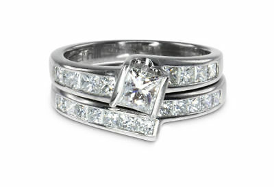 18k White Gold 1.40ct F/H Diamond Engagement/Wedd 2 Ring Bridal Set MHJ #921/500