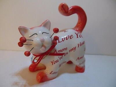 Whimsiclay Cat Figurine Love You #86230 Red & White Amy Lacombe Signed Porcelain