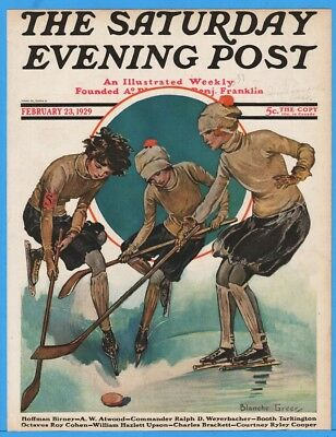 1929 Saturday Evening Post Cover Only Girls Play Ice Hockey Blanche Greer 2/23