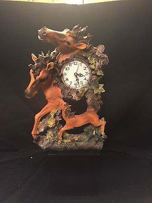 Horse Shelf or Mantle Clock - Three Horses - 12 Inches Tall - Resin Material
