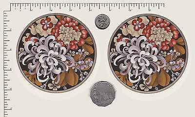"2 x Ceramic decal. Circle. Flowers Floral Small plate Coaster 4"" (100mm) PD836"