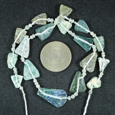 Ancient Roman Glass Beads 1 Medium Strand Aqua And Green 100 -200 Bc 720