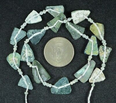 Ancient Roman Glass Beads 1 Medium Strand Aqua And Green 100 -200 Bc 722