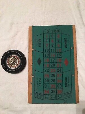 Vintage 1960's ROULETTE GAME With Wheel, Ball & Felt on Wood