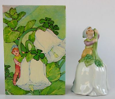 AVON GOOD LUCK BELL LEPRECHAUN Porcelain Flower with Shamrocks Vintage 1983 MIB
