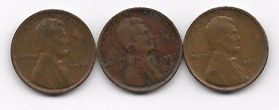 1909 p x 3 lincoln wheat cent cents penny 3 coin lot