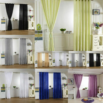 Solid Lined Thermal Blackout Eyelet RING TOP/Slot Top Satin Window Curtain Drape