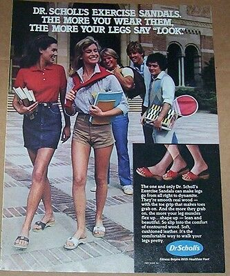 1983 ad page -Scholl Exercise sandals shoes cute School Girls PRINT ADVERTISING