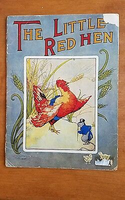 RARE 1918 The Little Red Hen, a antique childrens book with Color Illustrations