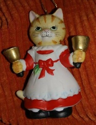 1994 BC Bronson Collectibles Kitty Cat Christmas Ornament Bell Ringer