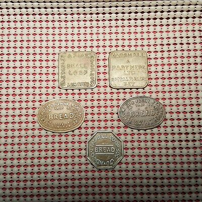 5X Bread/Loaves Trade Tokens Bletchley Fenny Stratford Marshall Pagnell