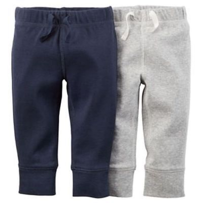 Carter's Boys 2-Pack Soft Pant Heather Gray and Navy Blue NWT Retail $22