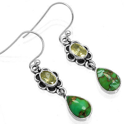 925 Sterling Silver Best Seller Earring Copper Green Turquoise Gemstone Ad76602