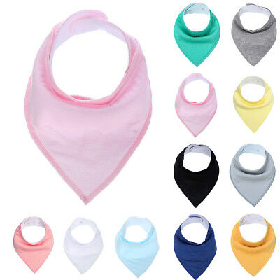 Newborn Kids Child Baby Soft Cotton Burp Cloths Solid Color Infant Bandana Bib