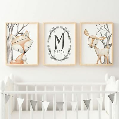 Baby, Boys Woodland  Nursery or Bedroom Wall Art Decor Print Set- Name Print, Fo