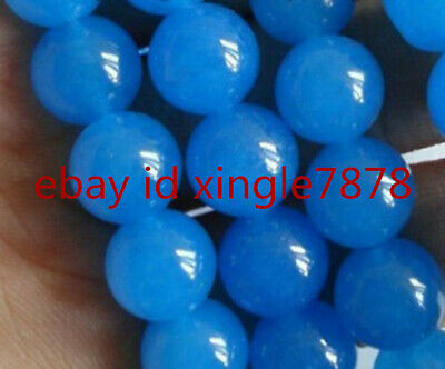 """Natural 10mm South American Blue Topaz Gemstones Round Loose Beads 15"""" A+++"""