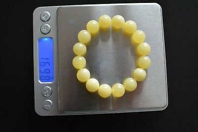Baltic Amber bracelet, round beads 12mm 16.98grams yellow Color AA20