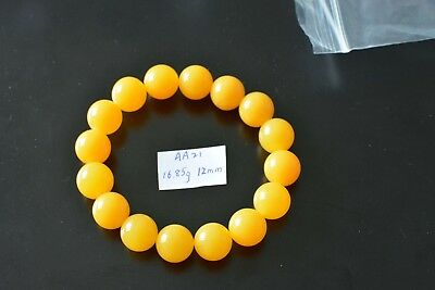 Baltic Amber bracelet, round beads 12mm 16.85grams butterscotch Color AA21