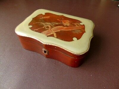Early 20th c Oriental Japanese Trinket Box, Stork Decoration