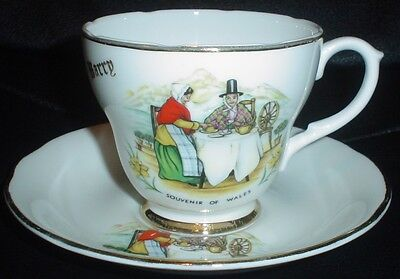 Liverpool Road Pottery SOUVENIR OF WALES BARRY Cup And Saucer