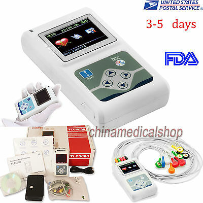 Promotion! FDA 12 Channels ECG/EKG Holter System 24H Recorder Analyzer Software