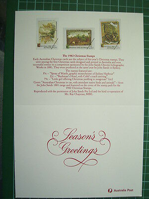1982 AUSTRALIA POST CHRISTMAS CARD with replica's of Christmas stamps - UNUSED
