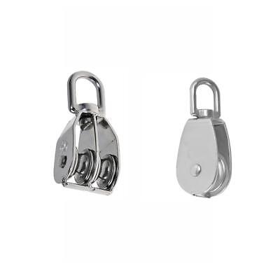 Double & Single Pulley Swivel Sheave Lifting Wheel Rope Pulley 25mm Silver