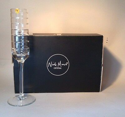 TYRONE CRYSTAL NICK MUNRO SET OF 2x  ECLIPSE CHAMPAGNE GLASSES - NEW OLD STOCK