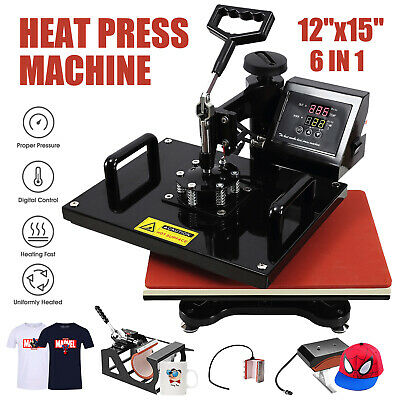 6 in 1 12''X15'' Digital Heat Press Machine Transfer For T-Shirt/Mug/Hat Plate