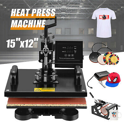 "5 IN 1 15""x15"" Combo T-Shirt Heat Press Machine Digital Transfer Sublimation Mug"