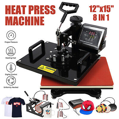 "8 in 1 Dual Digital Transfer Sublimation 15""x12"" Heat Press Machine T-Shirt Mug"