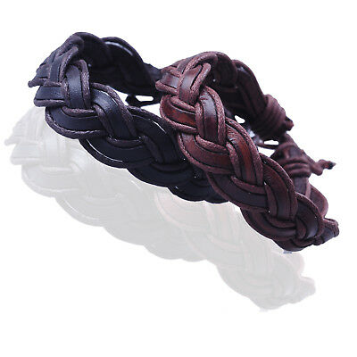 Boy Girl Men women Brown Braided Genuine Leather Adjustable bracelets GM087US