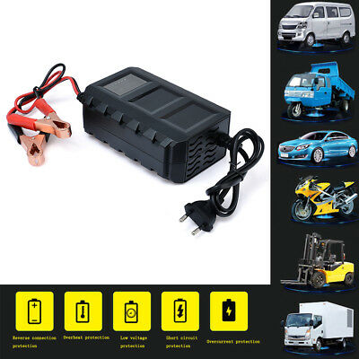 12V Intelligent LCD Battery Cord Lead Acid Charger for Car Automobile Motorcycle