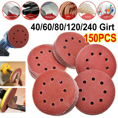 "125 X 125mm- 5"" Sanding Discs 60 80 100 120 240 Mixed Grit Orbital Sander 8 Hole"