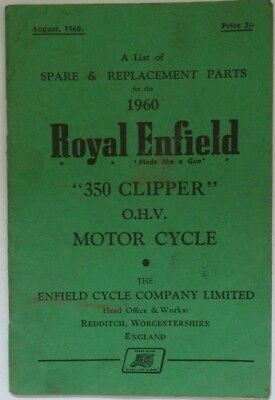 Royal Enfield 350 Clipper - Spare Parts List - 1960
