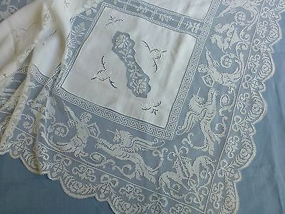 Antique Italian fine hand made filet lace embroidered tablecloth